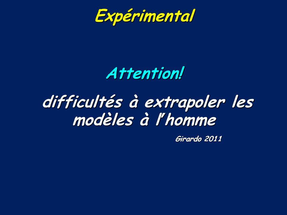 ExpérimentalAttention! difficultés à extrapoler les modèles à lhomme difficultés à extrapoler les modèles à lhomme Girardo 2011