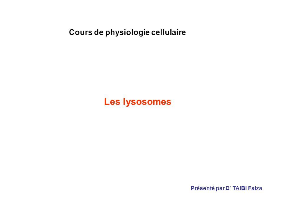 Cours de physiologie cellulaire Les lysosomes Présenté par D r TAIBI Faiza