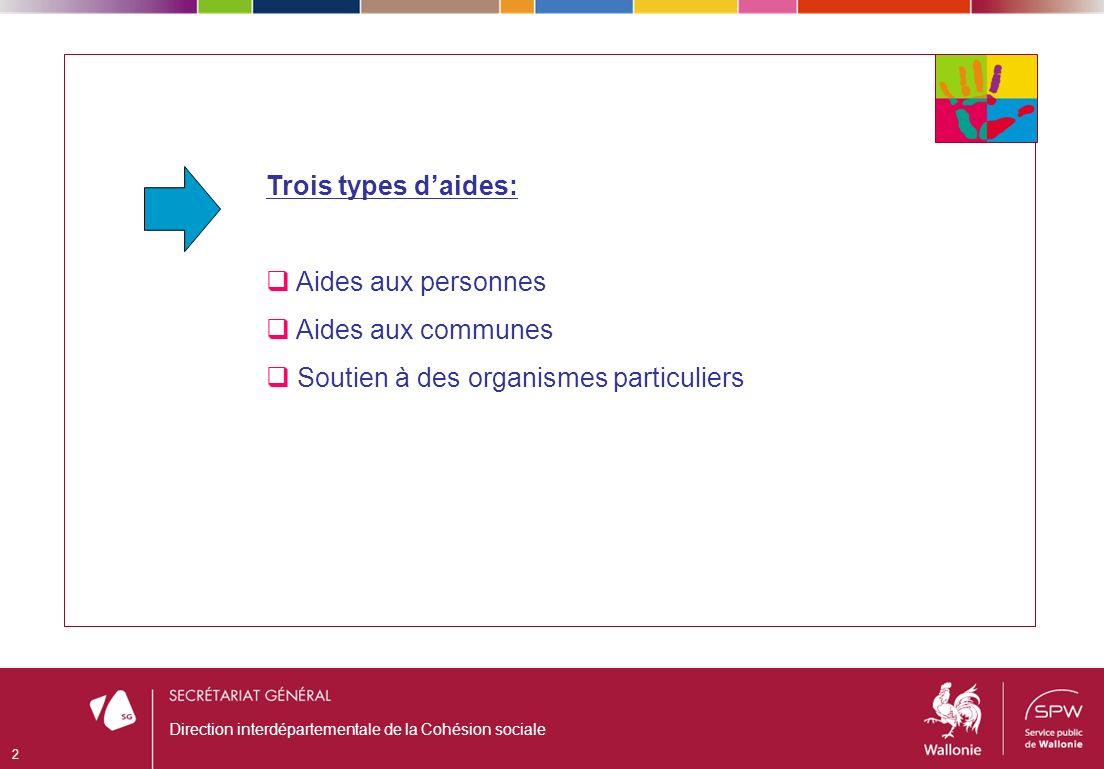 Trois types daides: Aides aux personnes Aides aux communes Soutien à des organismes particuliers 2 Direction interdépartementale de la Cohésion sociale
