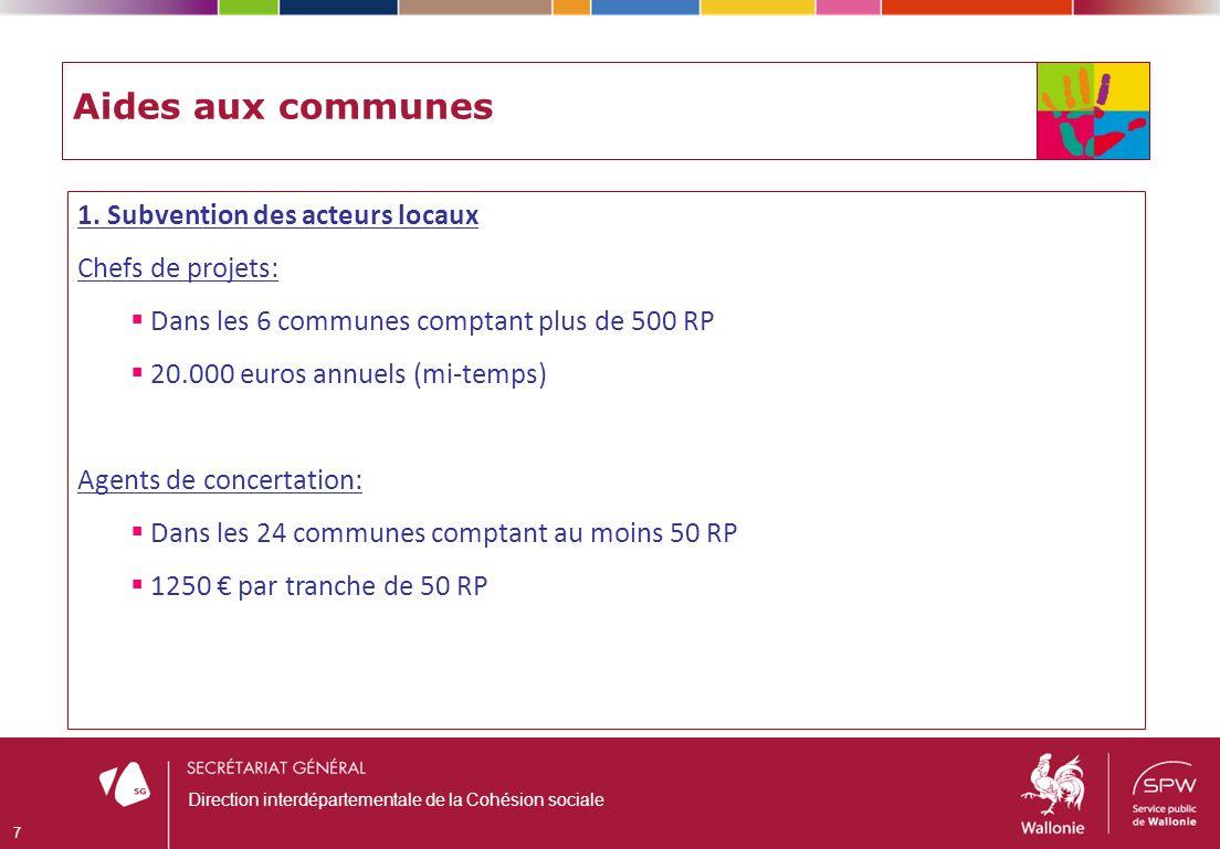 Aides aux communes 1. Subvention des acteurs locaux Chefs de projets: Dans les 6 communes comptant plus de 500 RP 20.000 euros annuels (mi-temps) Agen