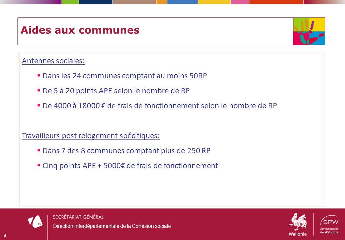 Aides aux communes Antennes sociales: Dans les 24 communes comptant au moins 50RP De 5 à 20 points APE selon le nombre de RP De 4000 à 18000 de frais