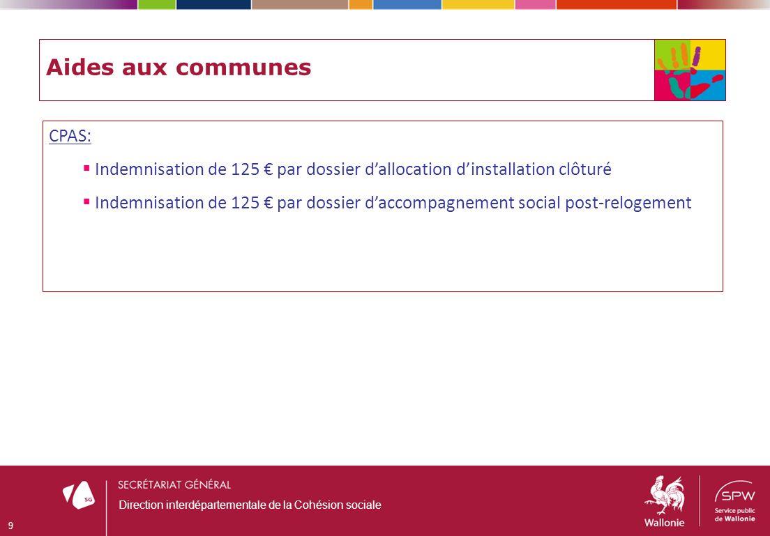 Aides aux communes CPAS: Indemnisation de 125 par dossier dallocation dinstallation clôturé Indemnisation de 125 par dossier daccompagnement social po