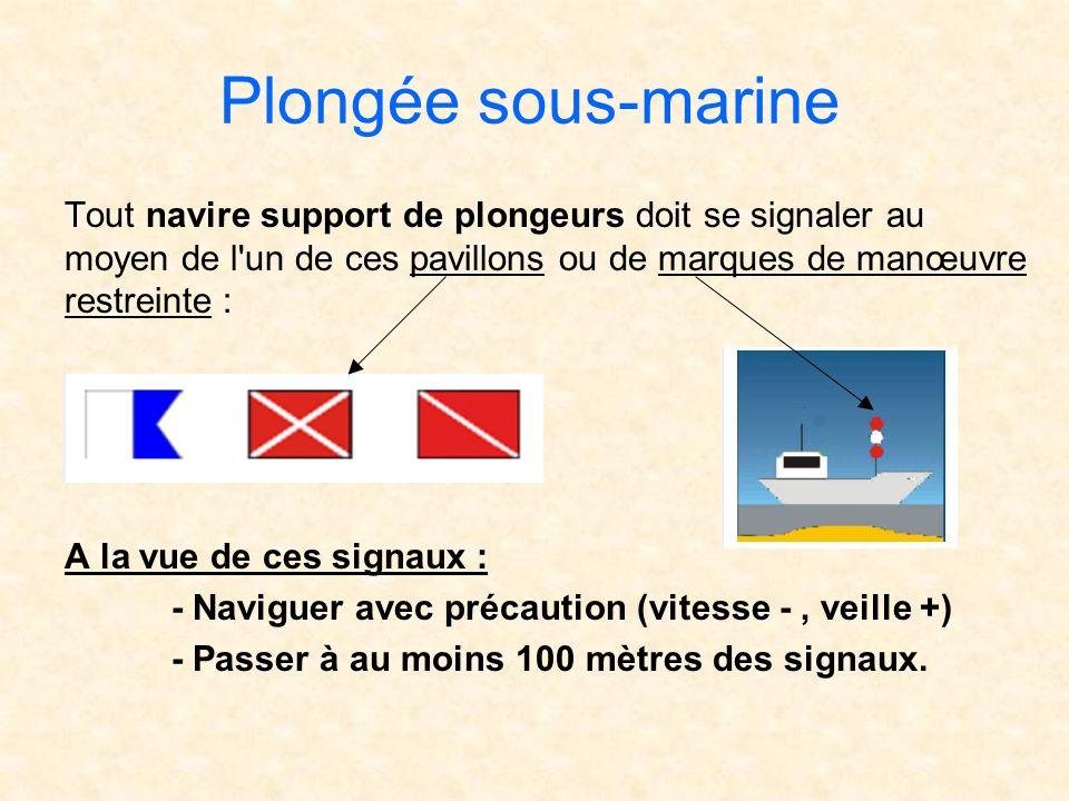 Plongée sous-marine Tout navire support de plongeurs doit se signaler au moyen de l'un de ces pavillons ou de marques de manœuvre restreinte : A la vu