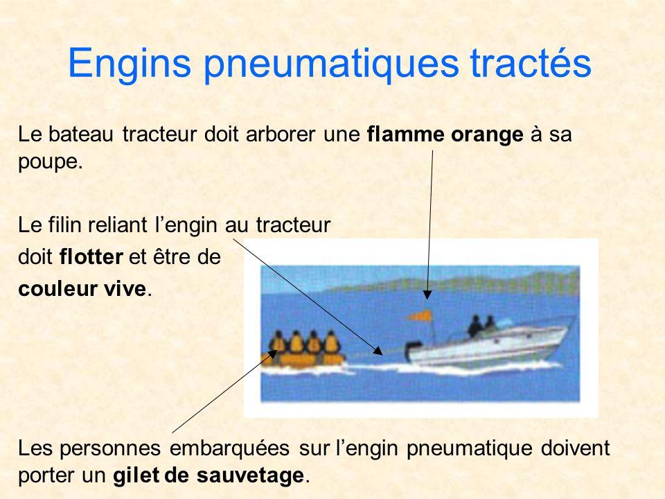 Engins pneumatiques tractés Le bateau tracteur doit arborer une flamme orange à sa poupe. Le filin reliant lengin au tracteur doit flotter et être de