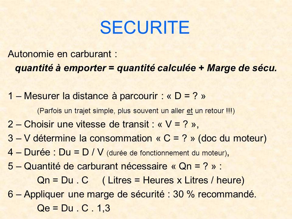 SECURITE Autonomie en carburant : quantité à emporter = quantité calculée + Marge de sécu. 1 – Mesurer la distance à parcourir : « D = ? » (Parfois un