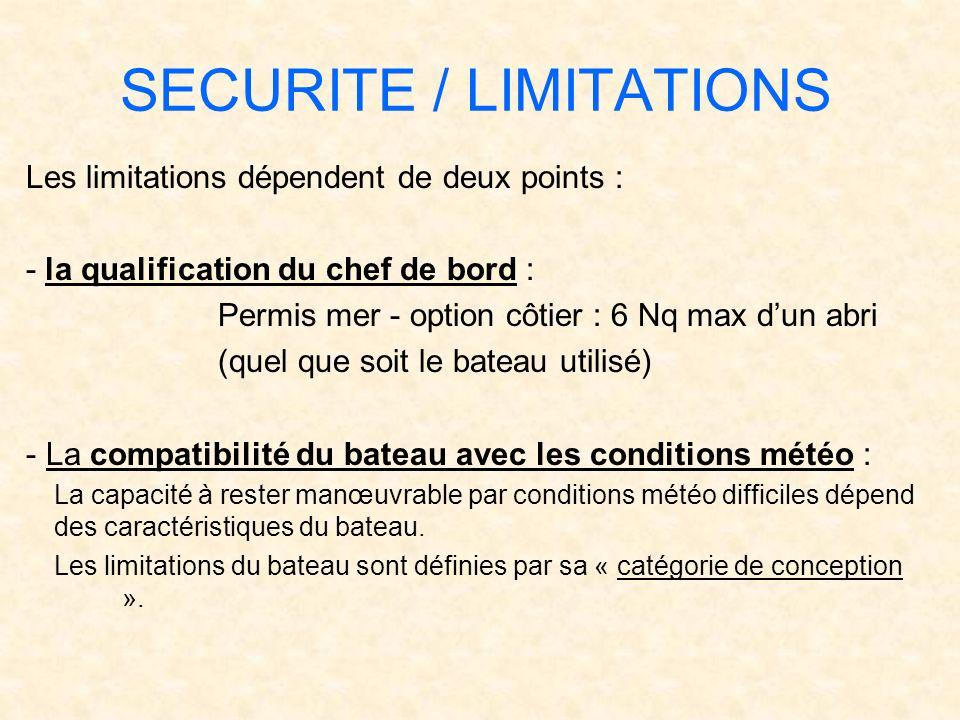 SECURITE / LIMITATIONS Les limitations dépendent de deux points : - la qualification du chef de bord : Permis mer - option côtier : 6 Nq max dun abri
