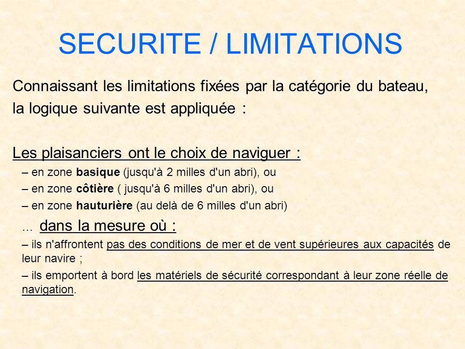 SECURITE / LIMITATIONS Connaissant les limitations fixées par la catégorie du bateau, la logique suivante est appliquée : Les plaisanciers ont le choi