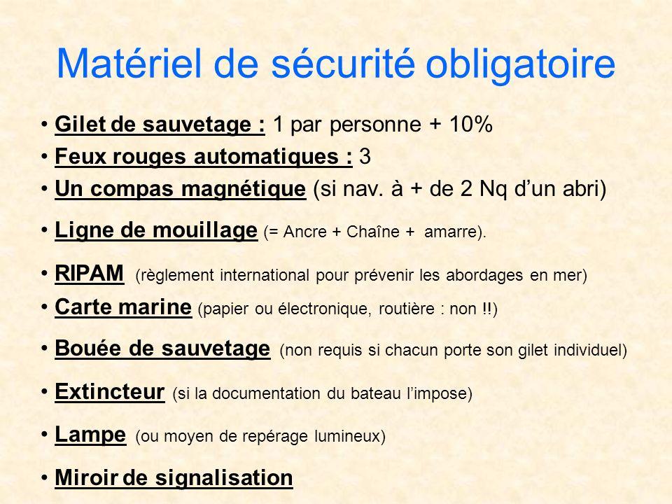 Matériel de sécurité obligatoire Gilet de sauvetage : 1 par personne + 10% Feux rouges automatiques : 3 Un compas magnétique (si nav. à + de 2 Nq dun