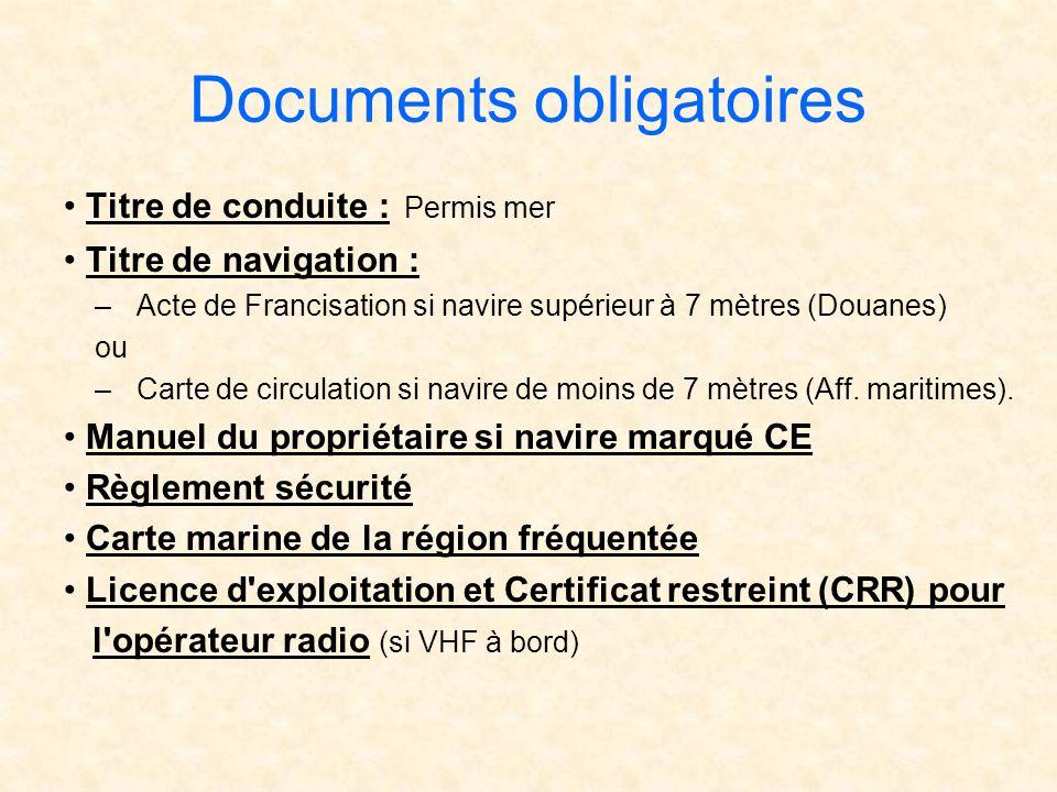 Documents obligatoires Titre de conduite : Permis mer Titre de navigation : –Acte de Francisation si navire supérieur à 7 mètres (Douanes) ou –Carte d