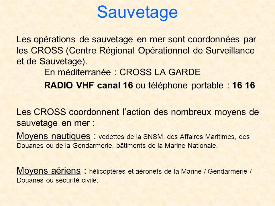 Sauvetage Les opérations de sauvetage en mer sont coordonnées par les CROSS (Centre Régional Opérationnel de Surveillance et de Sauvetage). En méditer