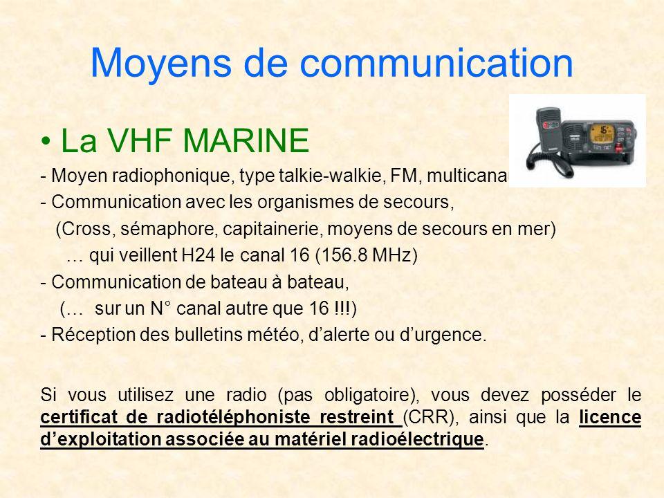 La VHF MARINE - Moyen radiophonique, type talkie-walkie, FM, multicanaux, - Communication avec les organismes de secours, (Cross, sémaphore, capitaine