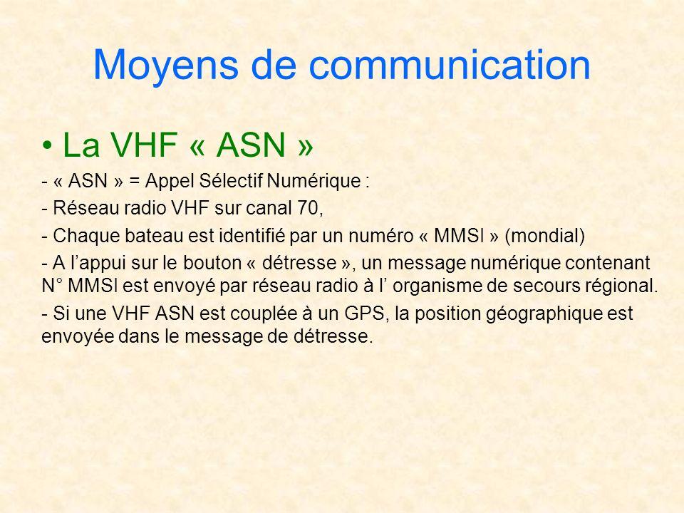 Moyens de communication La VHF « ASN » - « ASN » = Appel Sélectif Numérique : - Réseau radio VHF sur canal 70, - Chaque bateau est identifié par un nu