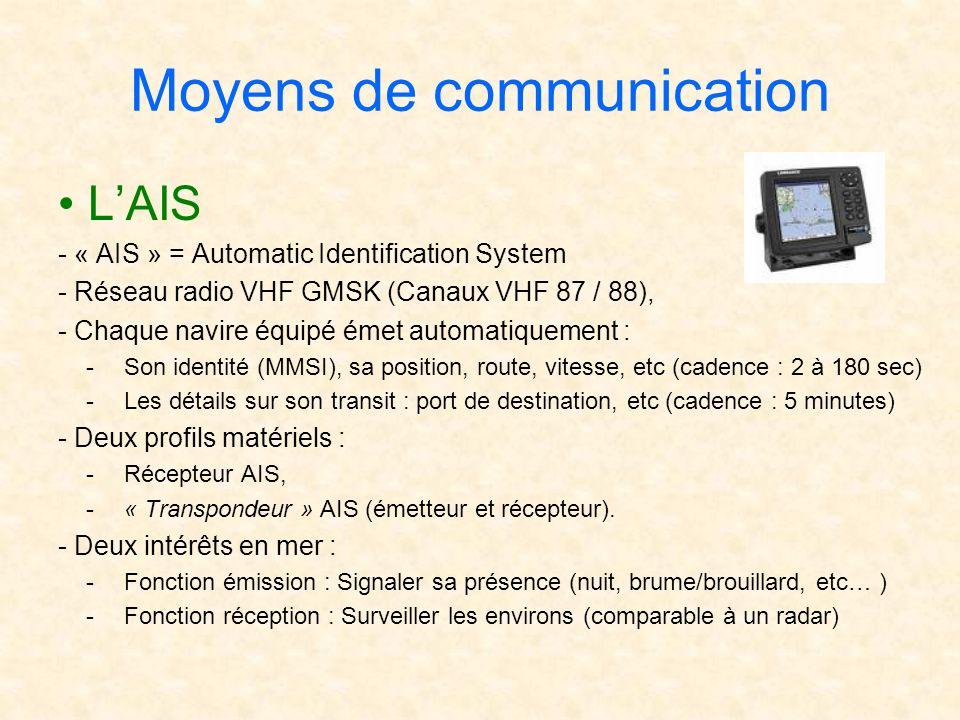 Moyens de communication LAIS - « AIS » = Automatic Identification System - Réseau radio VHF GMSK (Canaux VHF 87 / 88), - Chaque navire équipé émet aut