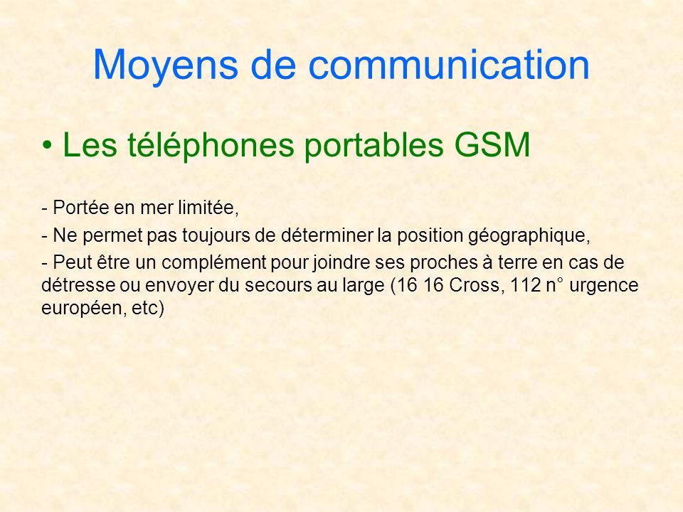 Moyens de communication Les téléphones portables GSM - Portée en mer limitée, - Ne permet pas toujours de déterminer la position géographique, - Peut