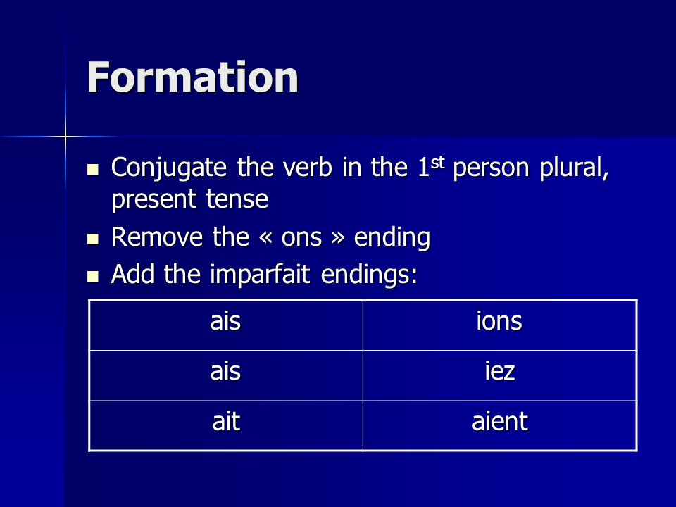 Formation Conjugate the verb in the 1 st person plural, present tense Conjugate the verb in the 1 st person plural, present tense Remove the « ons » ending Remove the « ons » ending Add the imparfait endings: Add the imparfait endings: aisions aisiez aitaient