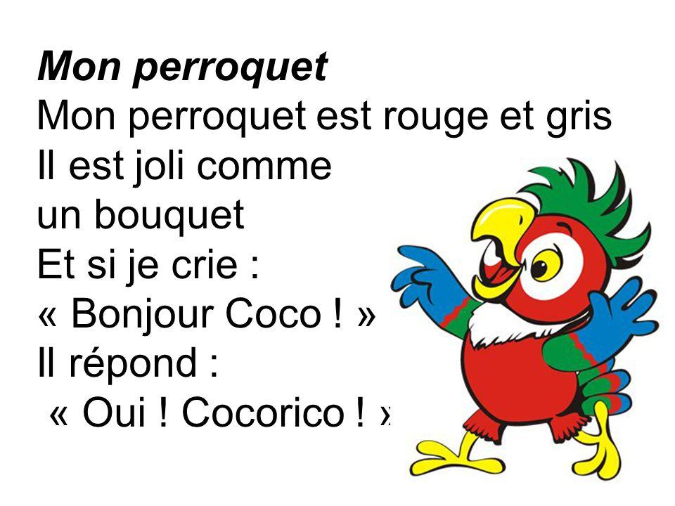 Mon perroquet Mon perroquet est rouge et gris Il est joli comme un bouquet Et si je crie : « Bonjour Coco ! » Il répond : « Oui ! Cocorico ! »