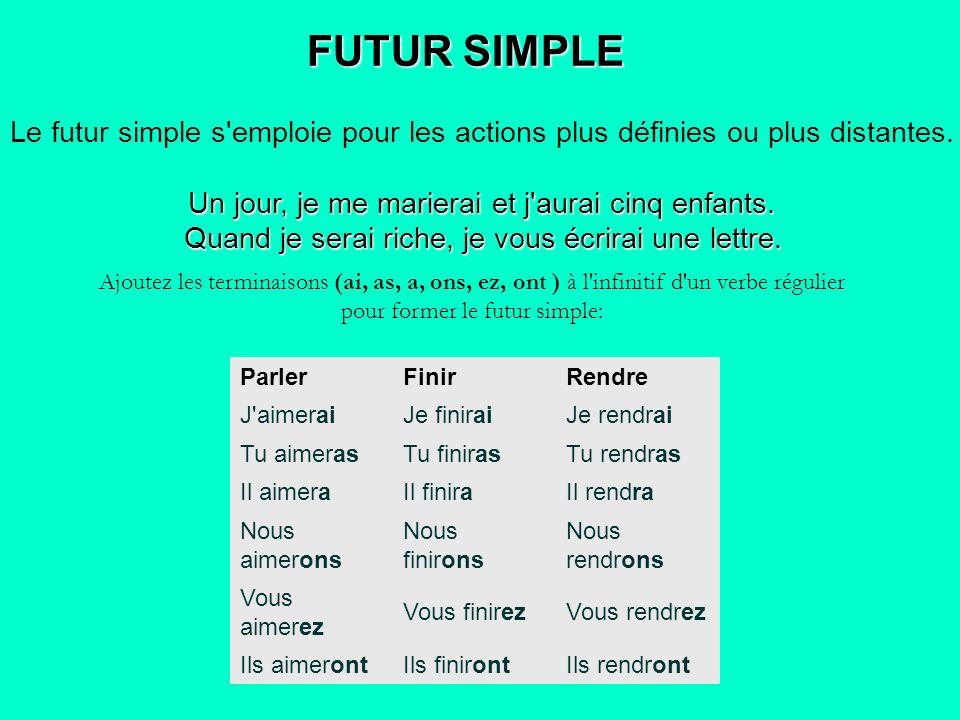 FUTUR SIMPLE Le futur simple s'emploie pour les actions plus définies ou plus distantes. Un jour, je me marierai et j'aurai cinq enfants. Quand je ser