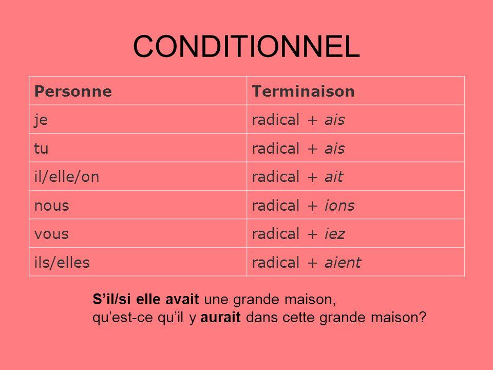 CONDITIONNEL PersonneTerminaison jeradical + ais turadical + ais il/elle/onradical + ait nousradical + ions vousradical + iez ils/ellesradical + aient