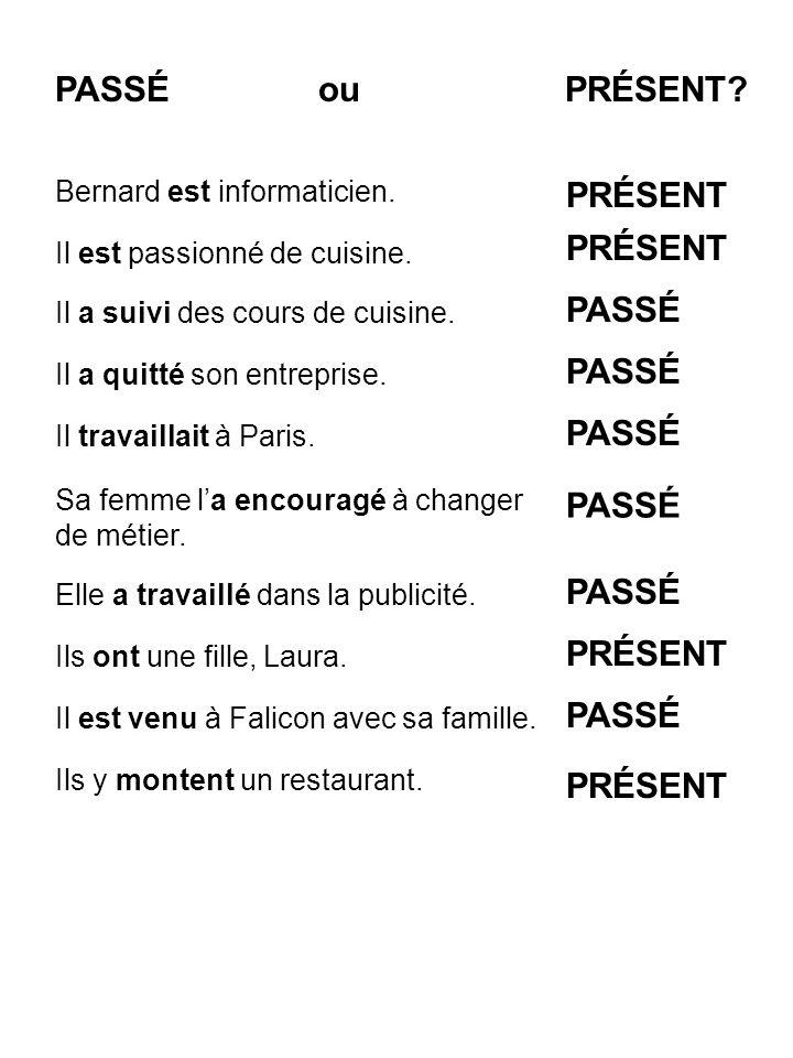 -er (parler) -ir (finir) -re (attendre) -er -ir -re verbe auxiliaire 1 (être ou avoir) + participe passé 2 -ons +e, +es, +e, +ons, +ez, +ent +is, +is, +it, +issons, +issez, +issent +s, +s, +(t),+ons, +ez, +ent + é (parlé) + i (fini) + u (attendu) jai 1 donné 2 je suis 1 allé(e) 2 +ais, +ais, +ait +ions, iez, +aient PRÉSENT PARTICIPE PASSÉ IMPARFAIT TEMPS COMPOSÉS : PASSÉ COMPOSÉ INFINITIF LA CONJUGAISON DES VERBES RÉGULIERS