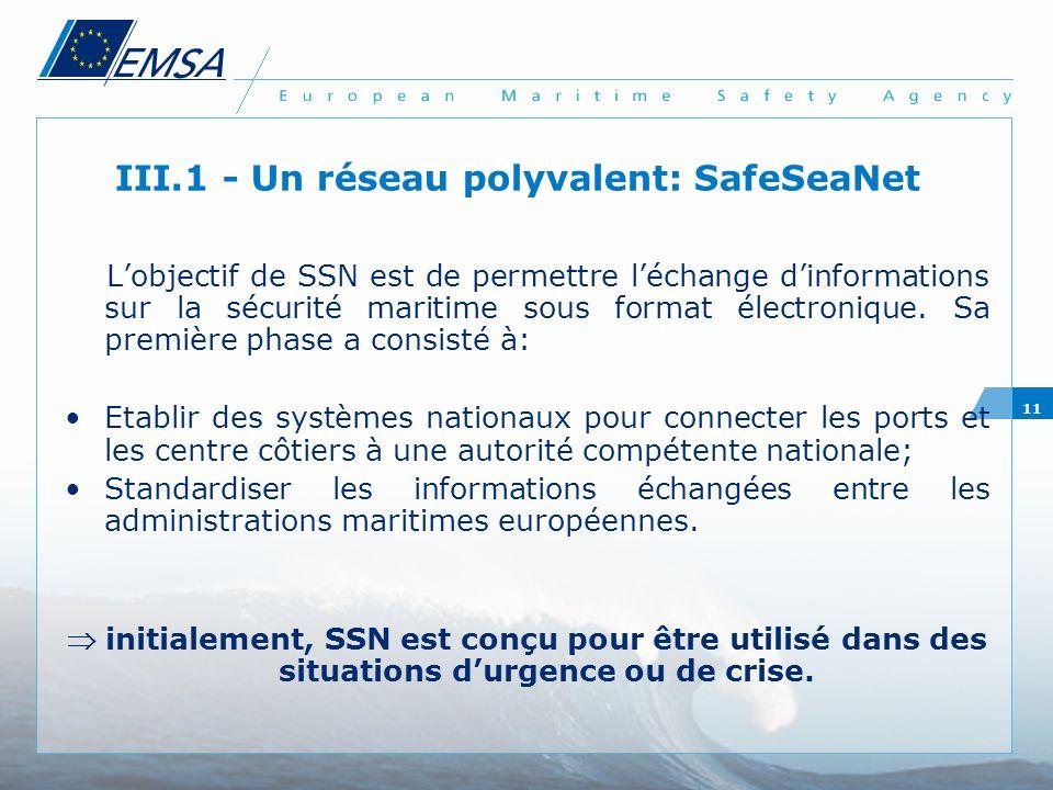11 III.1 - Un réseau polyvalent: SafeSeaNet Lobjectif de SSN est de permettre léchange dinformations sur la sécurité maritime sous format électronique