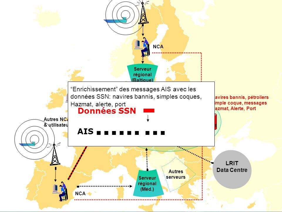 23 Noyau SafeSeaNet _ _ _ _ DIGIT/EMSA STIRES LRIT Data Centre Serveur régional (Méd.) NCA Autres serveurs Navires bannis, pétroliers simple coque, me