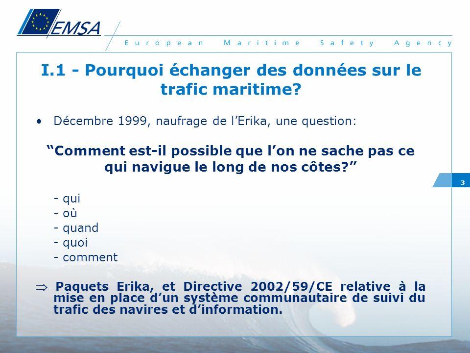3 I.1 - Pourquoi échanger des données sur le trafic maritime? Décembre 1999, naufrage de lErika, une question: Comment est-il possible que lon ne sach