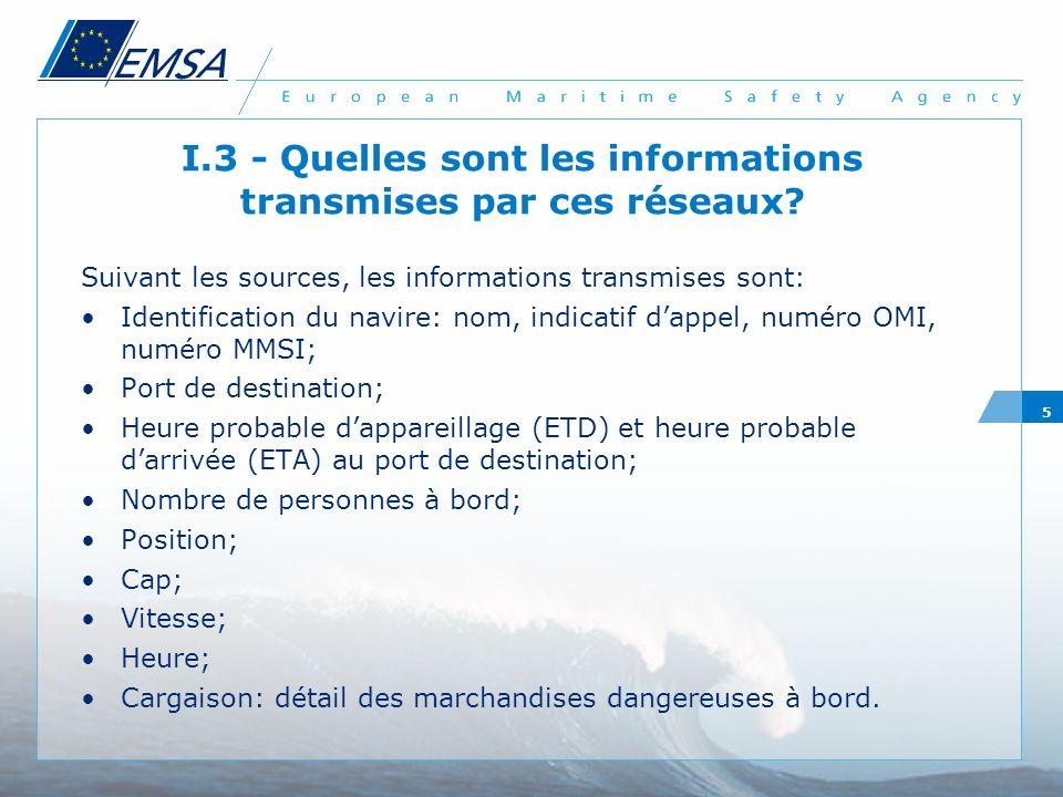 5 I.3 - Quelles sont les informations transmises par ces réseaux? Suivant les sources, les informations transmises sont: Identification du navire: nom