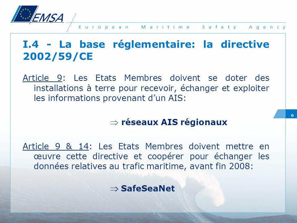 6 I.4 - La base réglementaire: la directive 2002/59/CE Article 9: Les Etats Membres doivent se doter des installations à terre pour recevoir, échanger