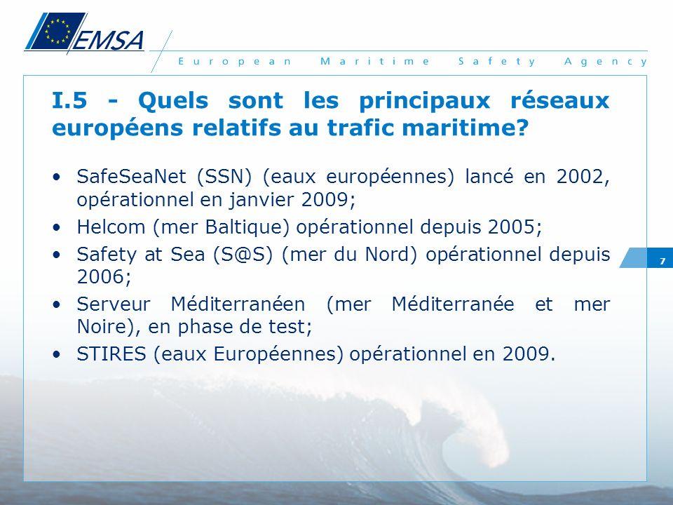 7 I.5 - Quels sont les principaux réseaux européens relatifs au trafic maritime? SafeSeaNet (SSN) (eaux européennes) lancé en 2002, opérationnel en ja