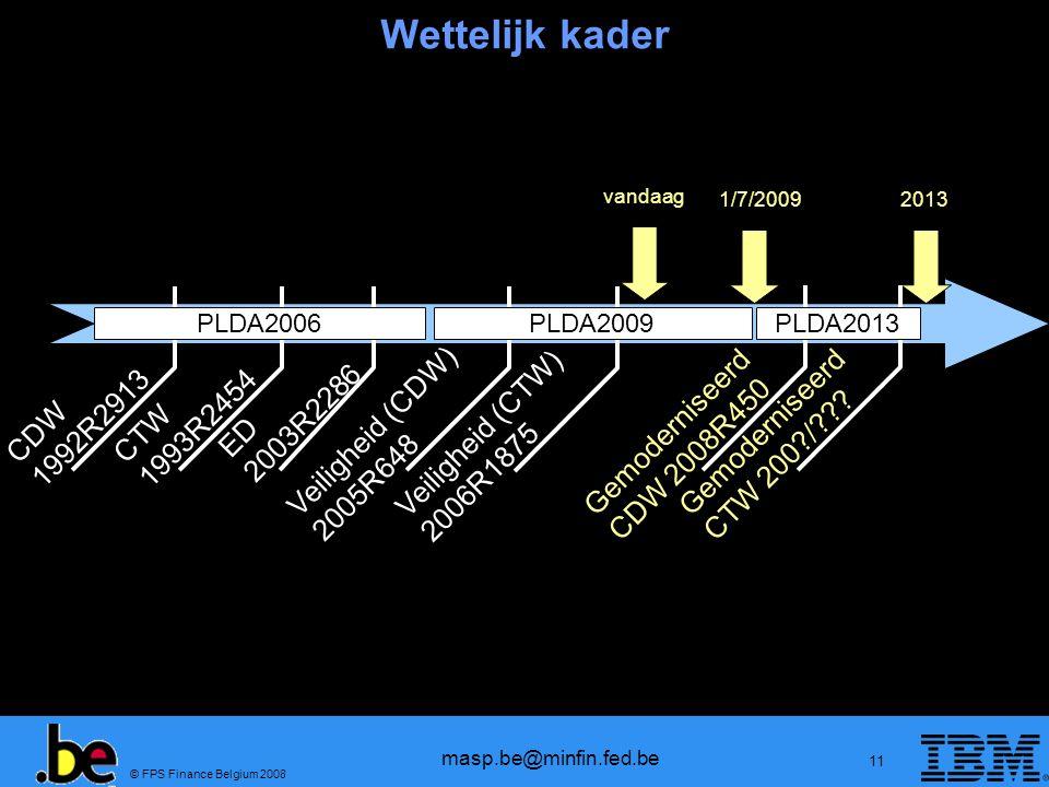 © FPS Finance Belgium 2008 masp.be@minfin.fed.be 11 Wettelijk kader Veiligheid (CDW) 2005R648 Veiligheid (CTW) 2006R1875 Gemoderniseerd CDW 2008R450 v