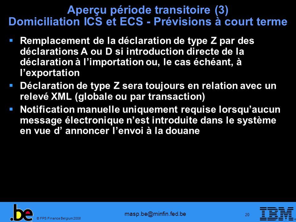 © FPS Finance Belgium 2008 masp.be@minfin.fed.be 20 Aperçu période transitoire (3) Domiciliation ICS et ECS - Prévisions à court terme Remplacement de