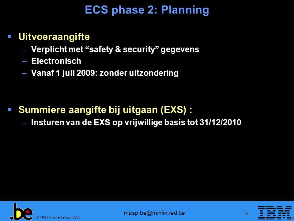 © FPS Finance Belgium 2008 masp.be@minfin.fed.be 28 ECS phase 2: Planning Uitvoeraangifte –Verplicht met safety & security gegevens –Electronisch –Van