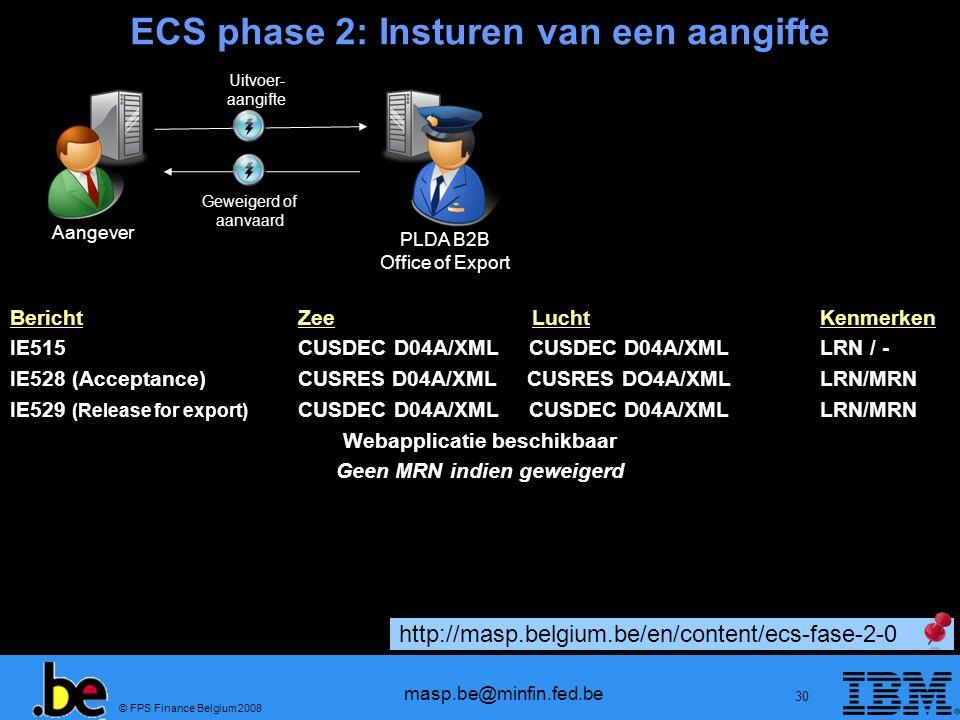 © FPS Finance Belgium 2008 masp.be@minfin.fed.be 30 ECS phase 2: Insturen van een aangifte Aangever PLDA B2B Office of Export Uitvoer- aangifte Geweig