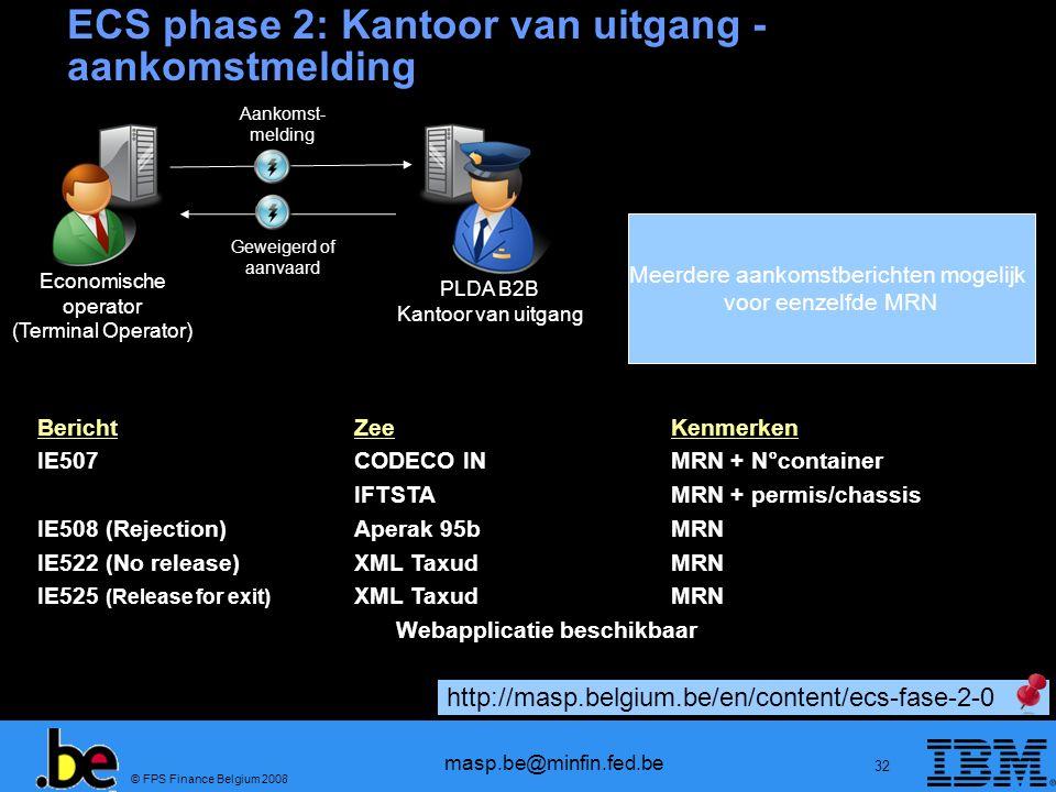 © FPS Finance Belgium 2008 masp.be@minfin.fed.be 32 BerichtZeeKenmerken IE507CODECO INMRN + N°container IFTSTAMRN + permis/chassis IE508 (Rejection)Ap