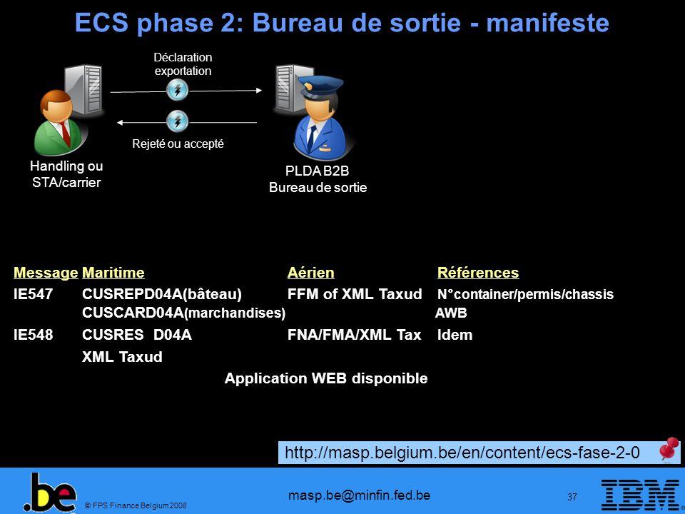 © FPS Finance Belgium 2008 masp.be@minfin.fed.be 37 ECS phase 2: Bureau de sortie - manifeste Handling ou STA/carrier PLDA B2B Bureau de sortie Déclar