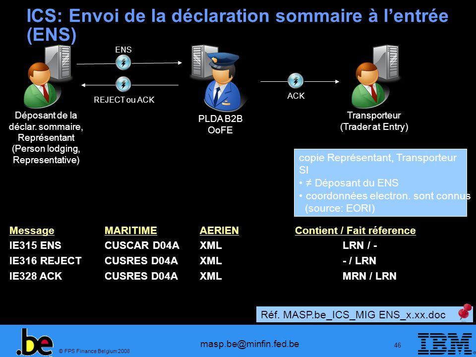 © FPS Finance Belgium 2008 masp.be@minfin.fed.be 46 ICS: Envoi de la déclaration sommaire à lentrée (ENS) Déposant de la déclar. sommaire, Représentan