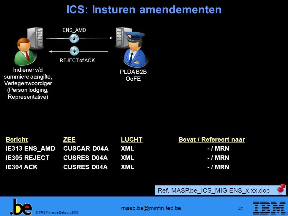 © FPS Finance Belgium 2008 masp.be@minfin.fed.be 47 BerichtZEELUCHTBevat / Refereert naar IE313 ENS_AMDCUSCAR D04AXML- / MRN IE305 REJECT CUSRES D04AX