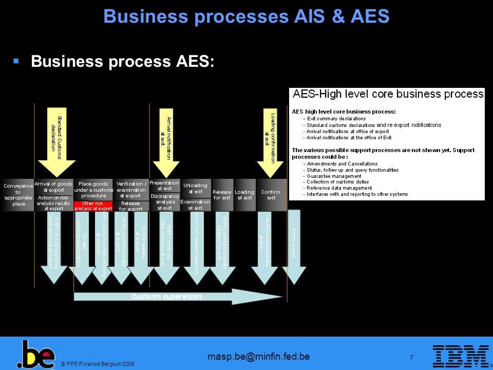 © FPS Finance Belgium 2008 masp.be@minfin.fed.be 8 Business processes AES & AIS Business process AIS:
