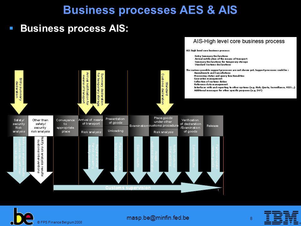 © FPS Finance Belgium 2008 masp.be@minfin.fed.be 9 Programma Inleiding Business processes AES en AIS Wettelijk kader Overzicht transitieperiode ECS fase 2 ICS EORI NCTS fase 4 EMCS SEAP Single Window