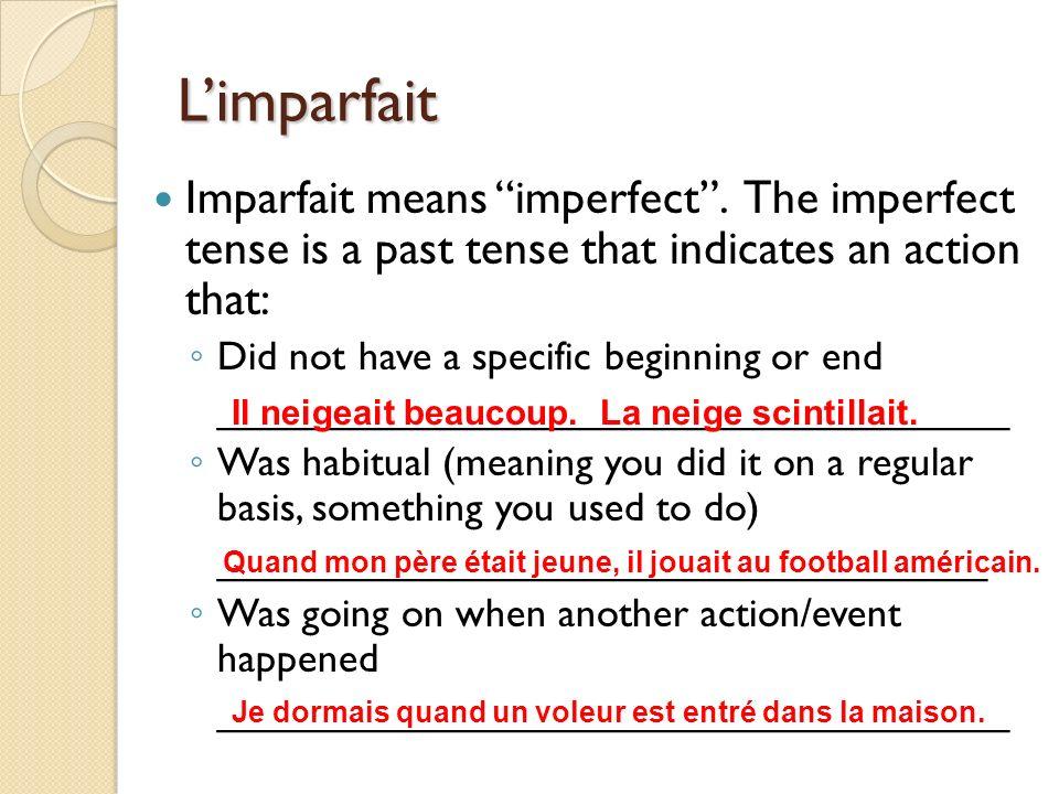 Limparfait – exercices 1 & 2 1.
