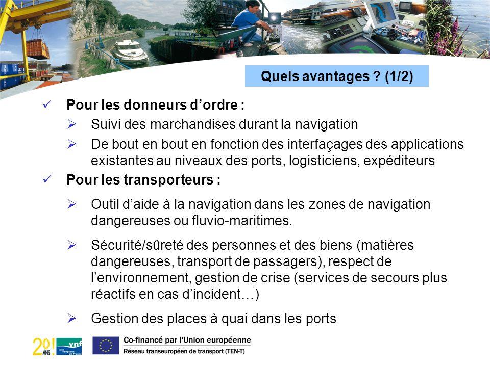Quels avantages ? (1/2) Pour les donneurs dordre : Suivi des marchandises durant la navigation De bout en bout en fonction des interfaçages des applic