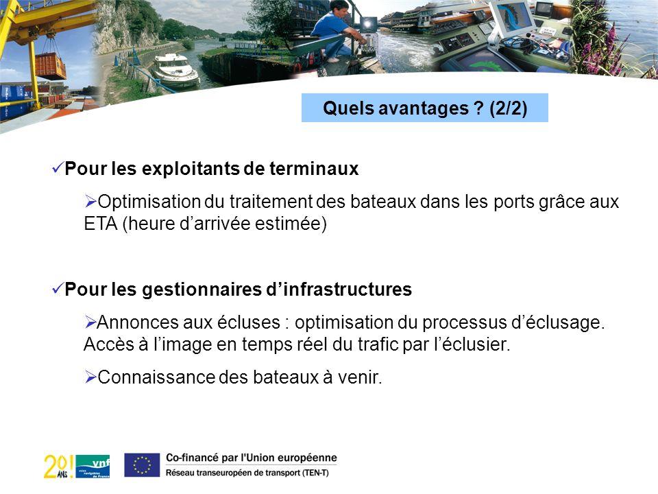 Quels avantages ? (2/2) Pour les exploitants de terminaux Optimisation du traitement des bateaux dans les ports grâce aux ETA (heure darrivée estimée)