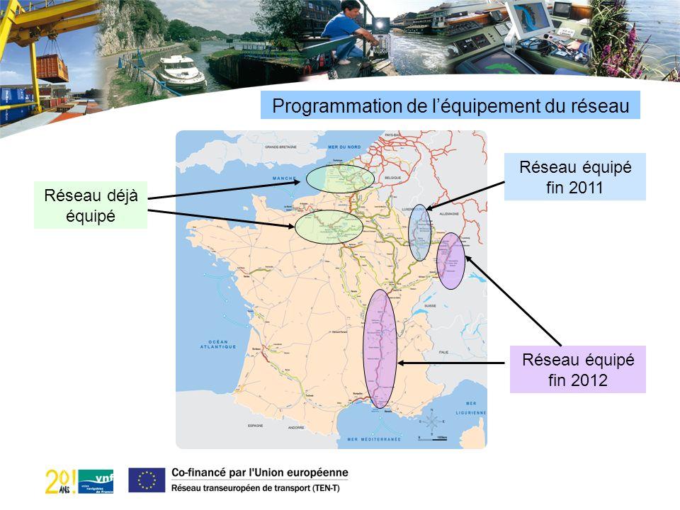 Programmation de léquipement du réseau Réseau déjà équipé Réseau équipé fin 2011 Réseau équipé fin 2012