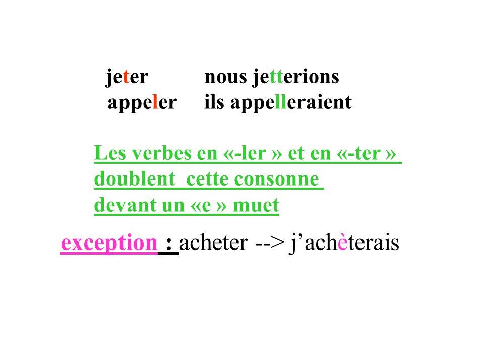 jeter nous jetterions appeler ils appelleraient Les verbes en «-ler » et en «-ter » doublent cette consonne devant un «e » muet exception : acheter --