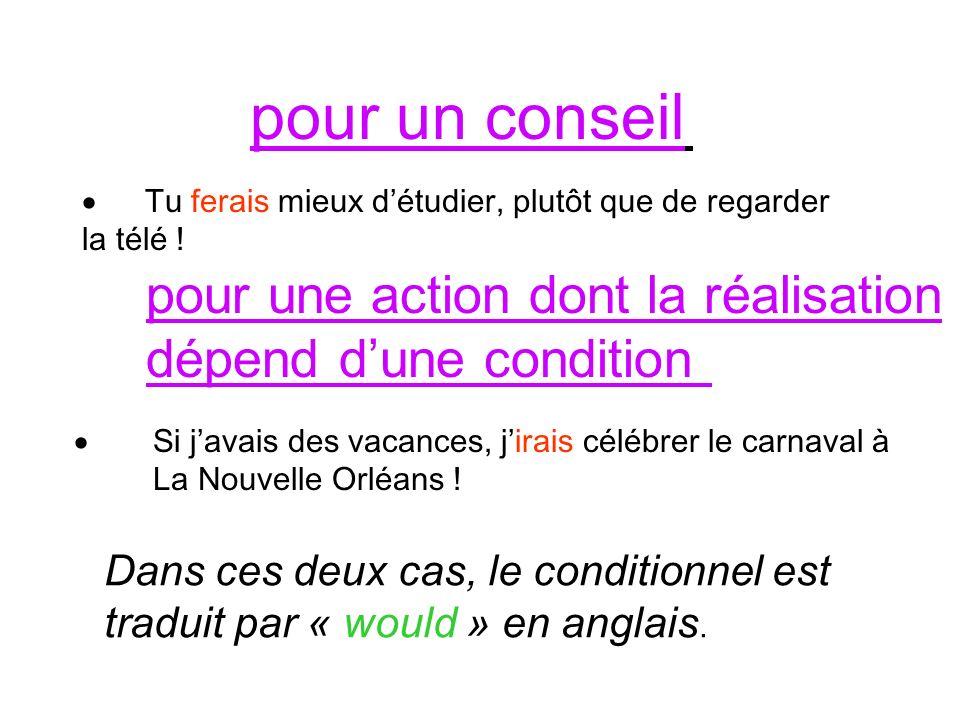 Le conditionnel présent de « vouloir » indique une requête polie et se traduit par « would like » Je voudrais une poutine, sil vous plait !