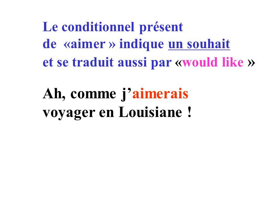 Le conditionnel présent de «aimer » indique un souhait et se traduit aussi par «would like » Ah, comme jaimerais voyager en Louisiane !