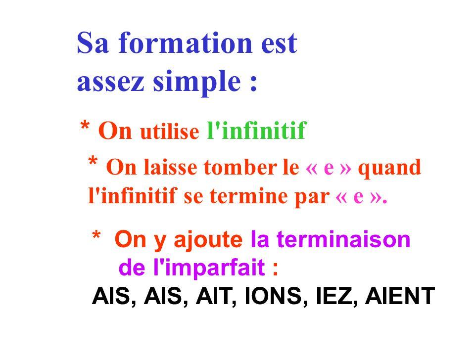 Sa formation est assez simple : * On utilise l'infinitif * On laisse tomber le « e » quand l'infinitif se termine par « e ». * On y ajoute la terminai
