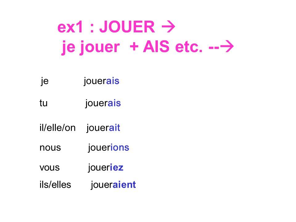 ex1 : JOUER je jouer + AIS etc.