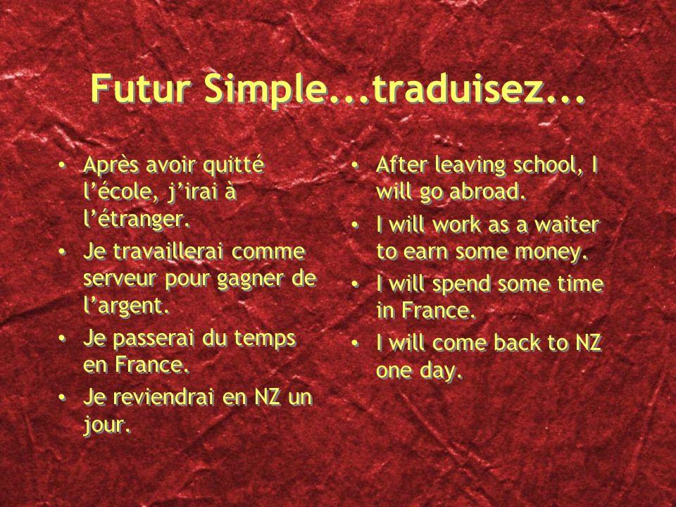Futur Simple Forme: radical + terminaisons Radicaux: pour les verbes en -er et en -ir, cest linfinitif et pour ceux en -re, enlever le e. Pour les aut
