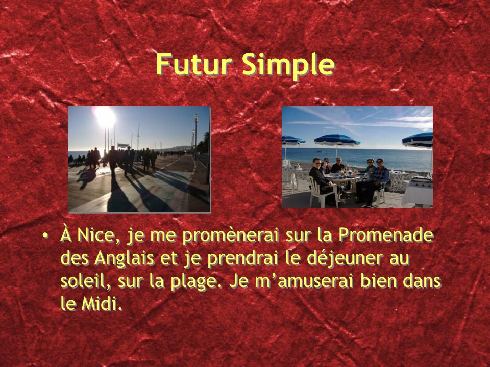 Futur Simple...traduisez... Après avoir quitté lécole, jirai à létranger. Je travaillerai comme serveur pour gagner de largent. Je passerai du temps e